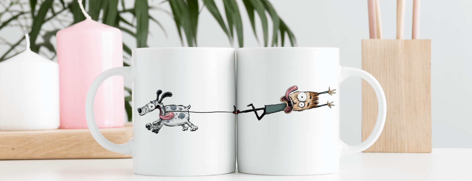 Funny mugs with an illustration of a dog dragging his owner
