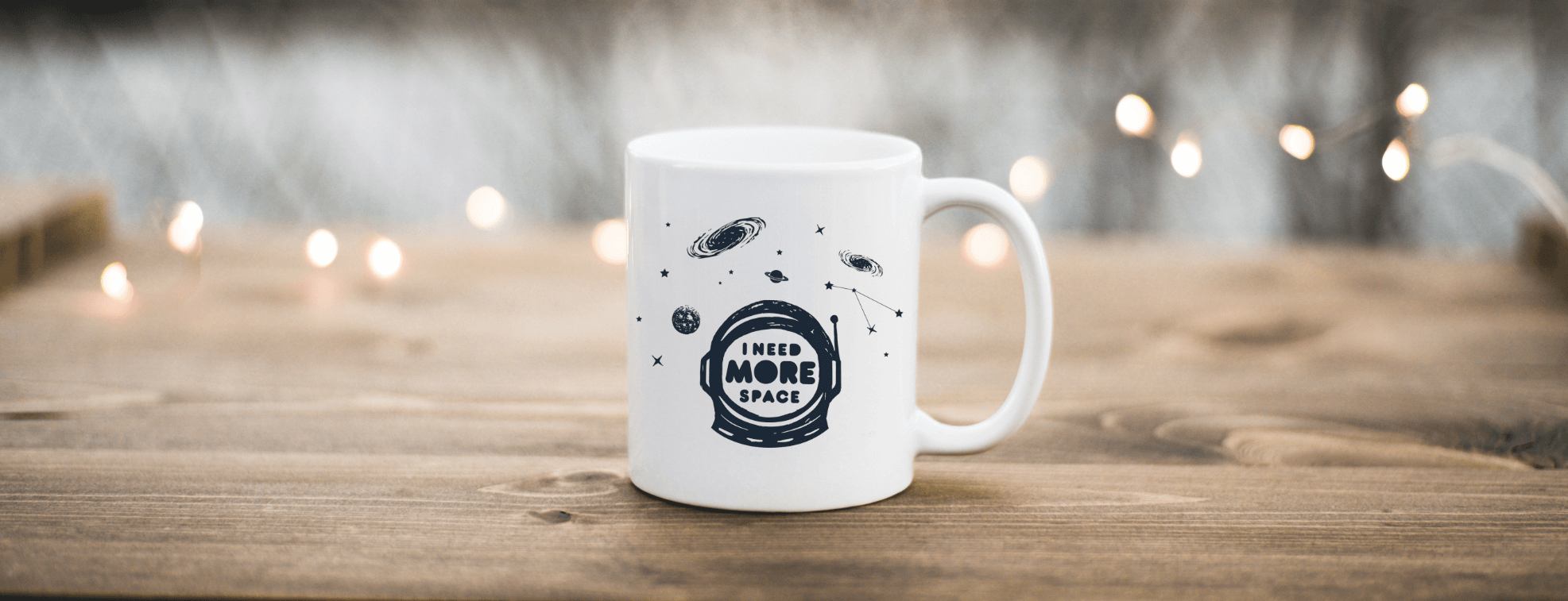 A white mug with an astronaut for introverts who need more space
