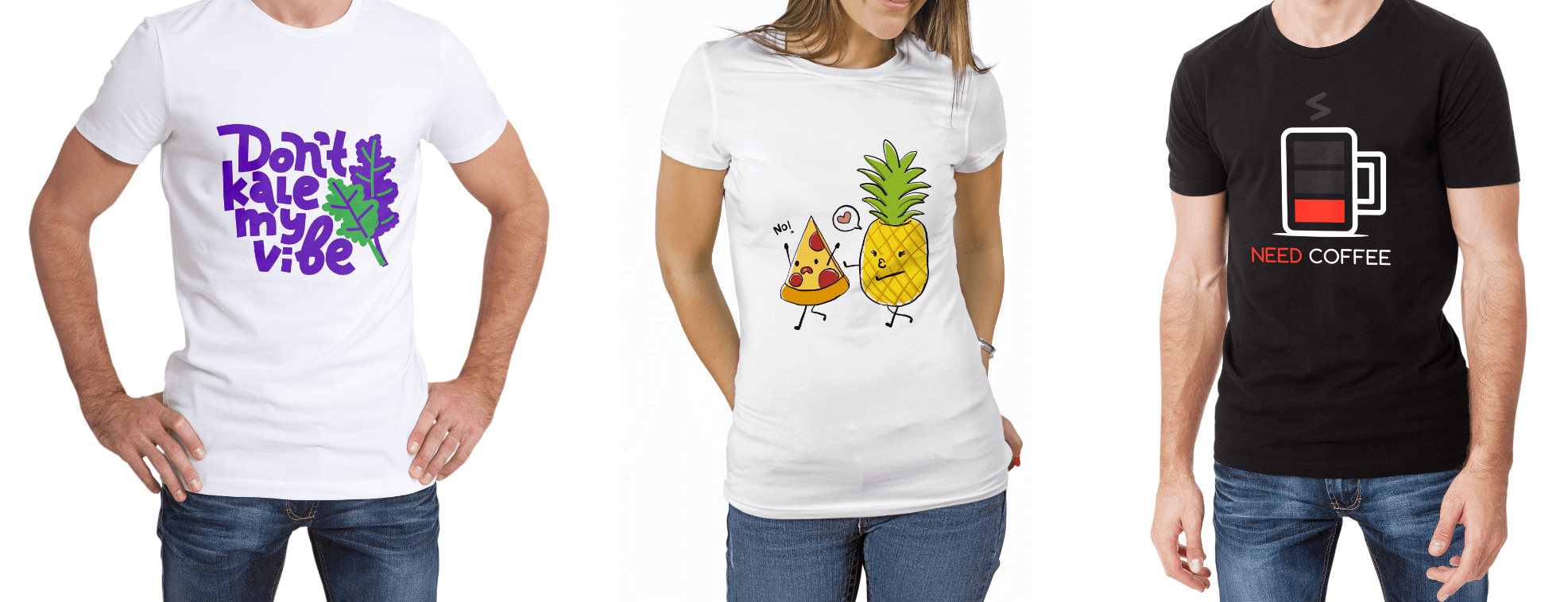 Different t-shirt designs with funny illustrations and images