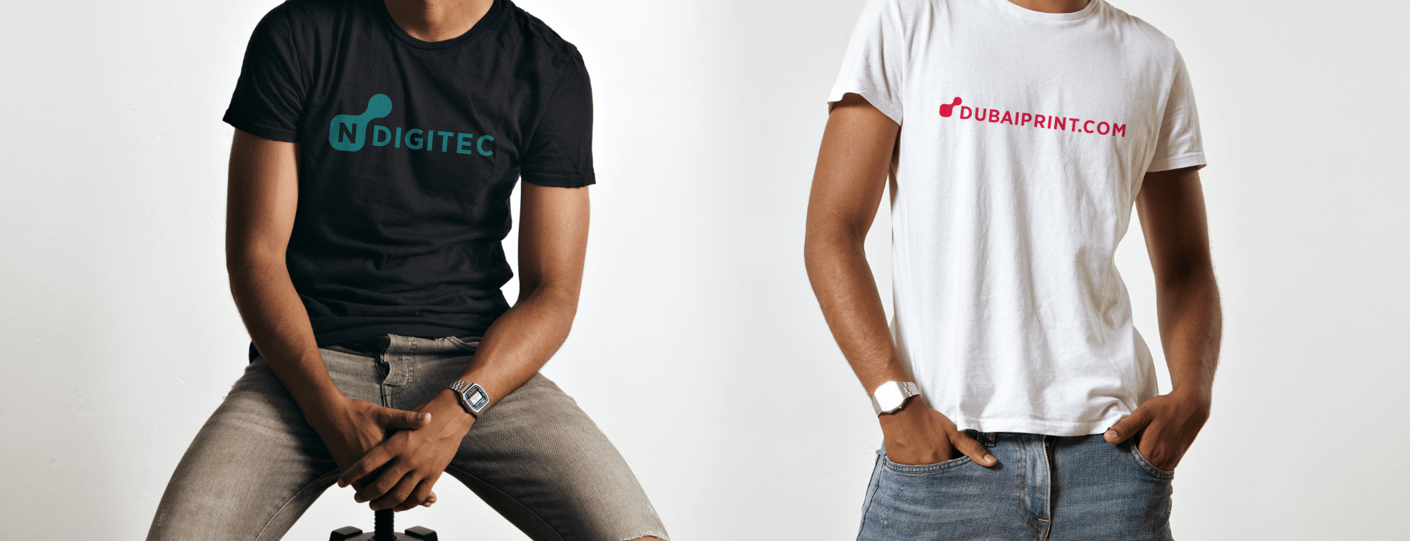 Custom-made made promotional t-shirts for Dubaiprint and NDigitec